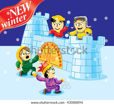 Collection cartoon personage. Winter Christmas holiday. Snowballs flight.