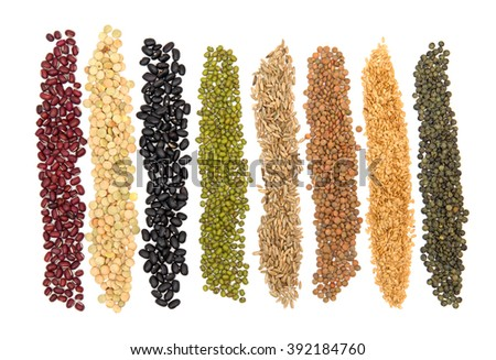 Collection Cereal Grains and Seeds : Rye, Wheat, Barley, Oat, Corn, Flax, Millet, Rice, Buckwheat, Quinoa close up isolated on white - stock photo