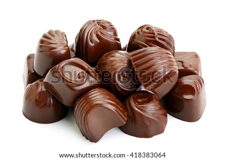 collection chocolate candies isolated on white background - stock photo
