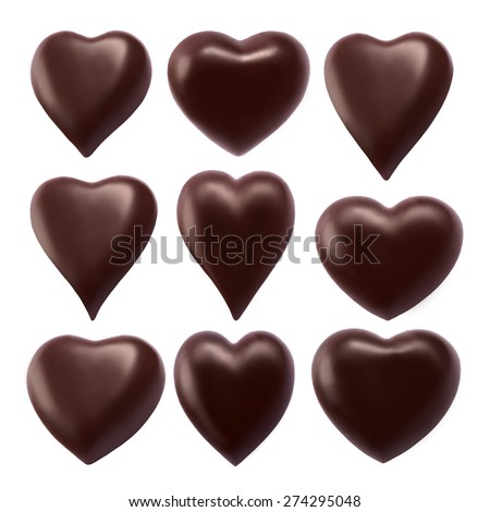 Collection chocolate heart - stock photo