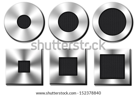 collection chrome button with a black metal mesh on white background - stock photo