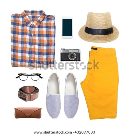 collection collage of men's clothing isolated white background