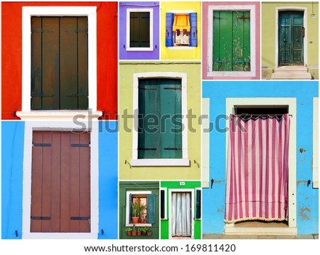 collection colorful windows and doors from the Italian island Burano