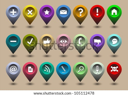 Collection different web icons in the form of GPS icons. Raster version - stock photo