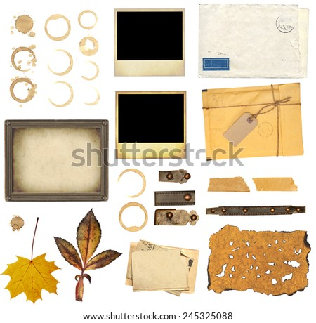 Collection elements for scrapbooking. Objects isolated on white background - stock photo