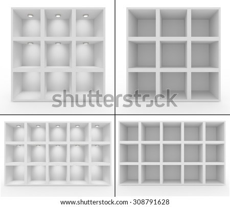 Collection. Empty white shelves with lighting. Isolated background - stock photo