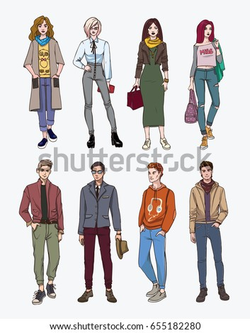 Collection fashion, trendy youth Set of hand drawn stylish young people at street. . Colorful illustration.