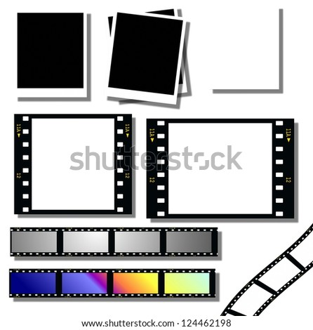 collection film strip and instant photo frames - stock photo