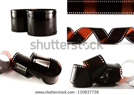 Collection Film strip isolated on white background - stock photo