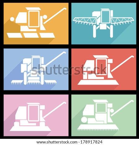 Collection flat icons with long shadow. Agricultural vehicles harvesting combine symbols.  illustration. - stock photo