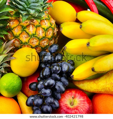 collection fresh fruits and vegetables - stock photo