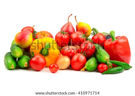 collection fresh fruits and vegetables isolated on white - stock photo