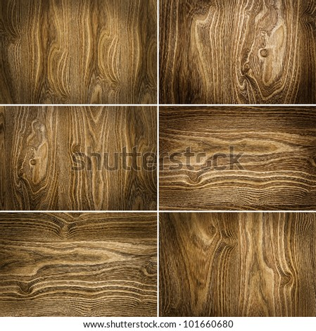collection from six wooden backgrounds - stock photo