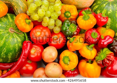 Collection fruit and vegetables background - stock photo