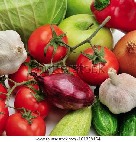 collection fruits and vegetables - stock photo