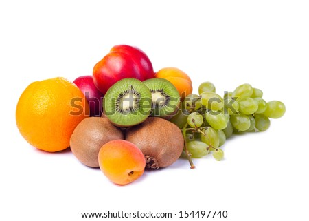 collection fruits and vegetables isolated on a white.