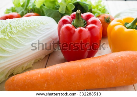 collection fruits and vegetables isolated on a white background - stock photo