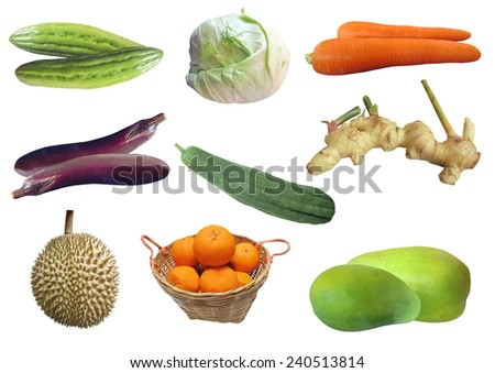 Collection fruits and vegetables isolated on white background  - stock photo