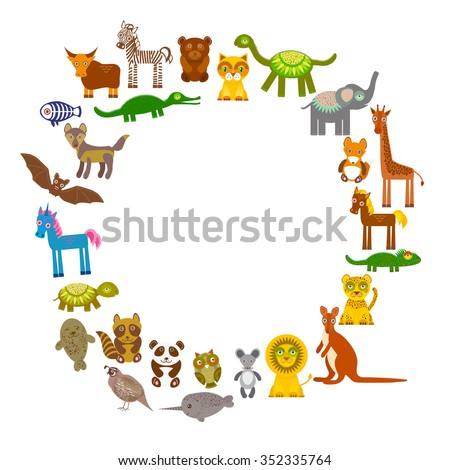 collection Funny cartoon Animals card template. circle on White background, template for your design.  - stock photo