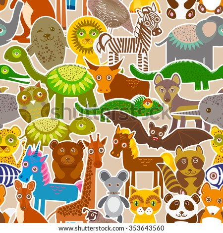 collection Funny cartoon Animals seamless pattern on beige background.  - stock photo