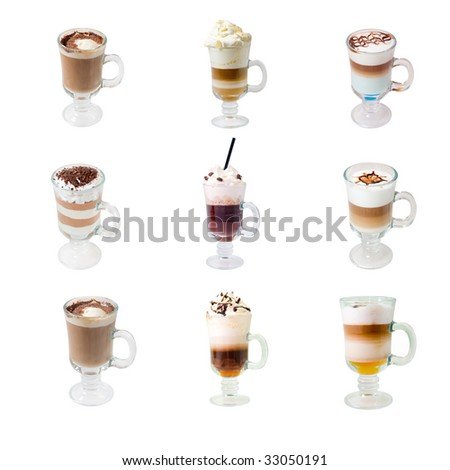 collection glass cap with coffee . isolated on white background. clipping Path - stock photo