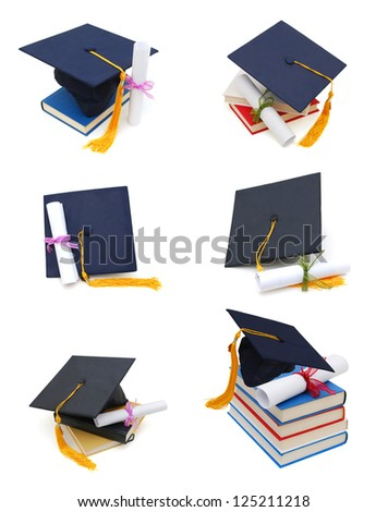 Collection grad hat and diploma with books isolated on white - stock photo