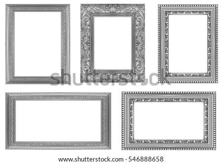 collection gray frame isolated on white background.