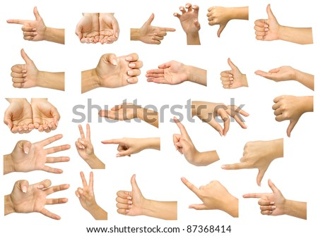 collection hands isolated on a white background