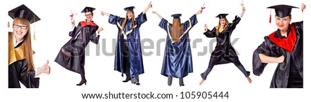 Collection - Happy Graduation Student. Isolated over white - stock photo