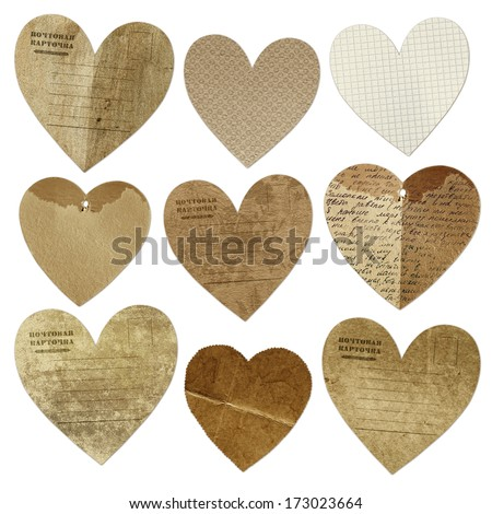 Collection hearts vintage - stock photo