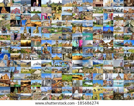 collection images with several destinations from all over the world  - stock photo