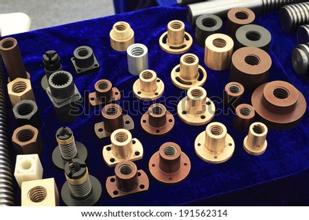 Collection many permutations of various metal screws - stock photo