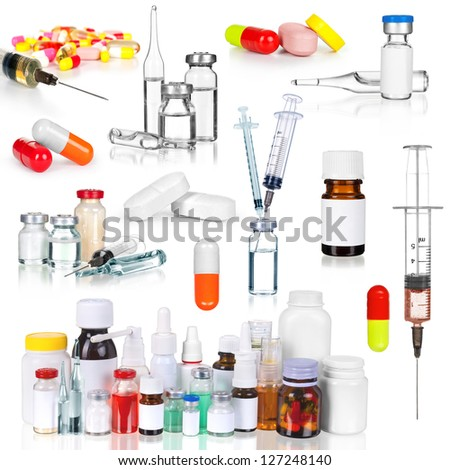 collection medical ampules, bottles, pills and syringes, isolated on white - stock photo