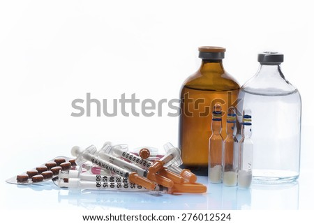Collection medication , Pills and medicine Vials with syringe.  - stock photo