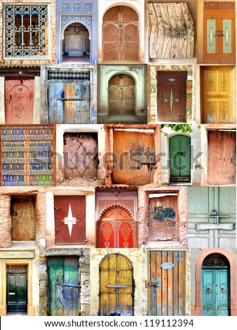 collection / mosaic of old moroccan doorways - stock photo