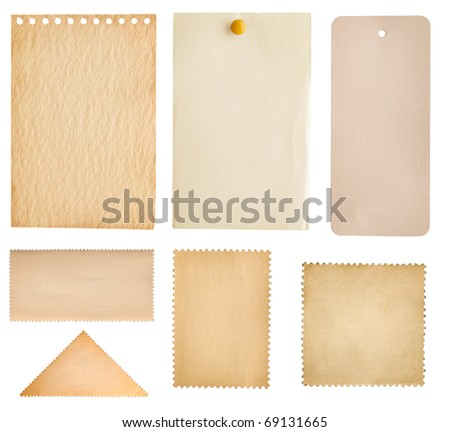 collection note paper, stamp and tag isolated on white