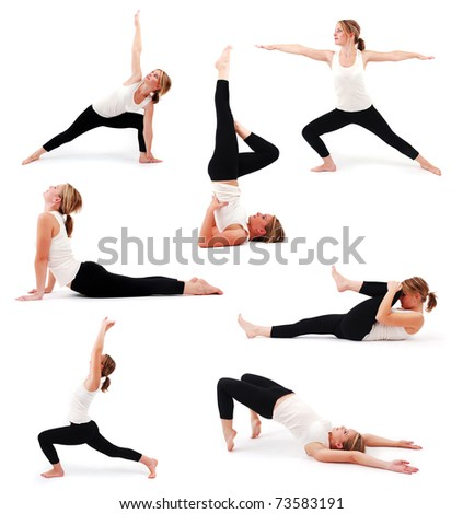 Collection of a beautiful girl practicing yoga on isolated white background - stock photo