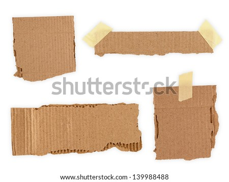Collection of a cardboard pieces isolated on white background - stock photo