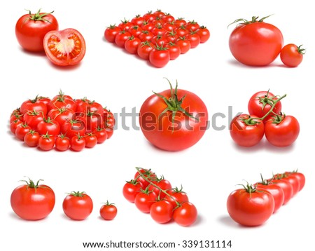 Collection of a different tomato arrangements. - stock photo