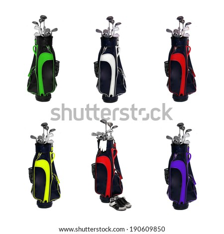 Collection of a golf clubs bags isolated on white background. - stock photo