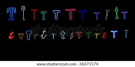 collection of a number of different neon letter T isolated on black - part of a series of neon letters