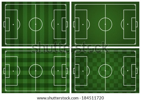 collection of 4 A realistic grass football / soccer field.