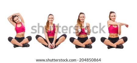 collection of a young sporty woman stretching