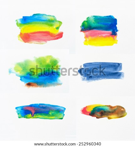 Collection of abstract colorful watercolor brush on white paper background. - stock photo