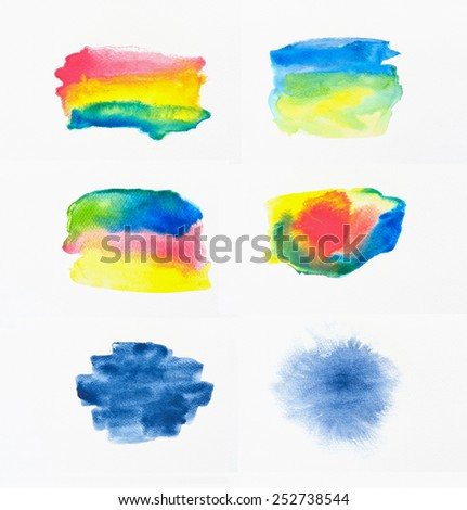 Collection of abstract colorful watercolor brushes on white paper background. - stock photo