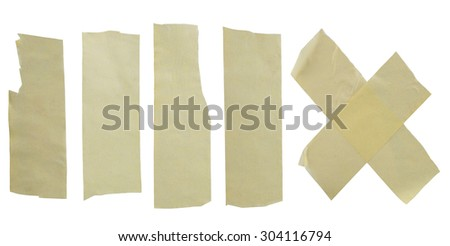 Collection of adhesive tape isolated on white background - stock photo