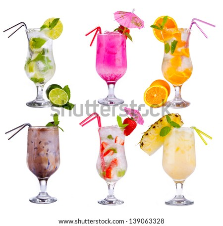 Collection of alcoholic cocktails isolated on white background