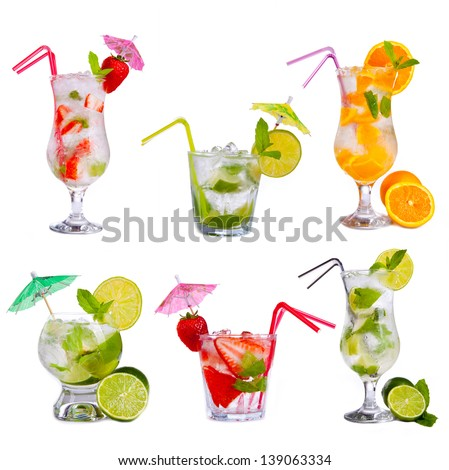 Collection of alcoholic cocktails isolated on white background - stock photo