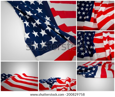 Collection of American Flag - stock photo