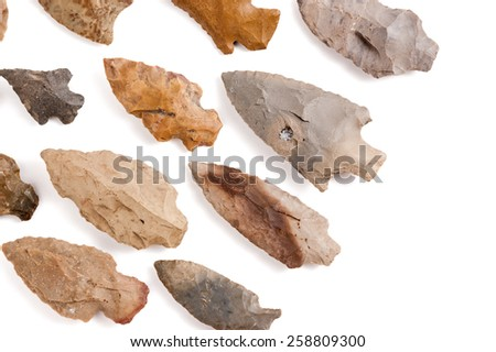 Collection of American Indian arrowheads found in Missouri - stock photo